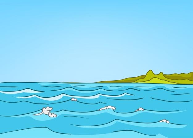 漫画自然風景海 Premiumベクター