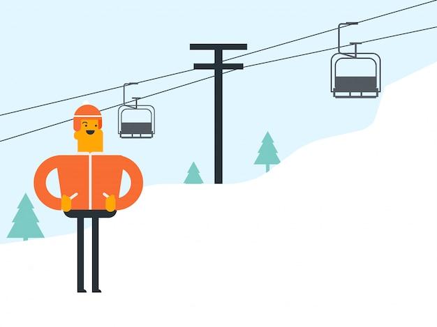 白人の白人スキーヤーとスキーリゾートでの索道。 Premiumベクター