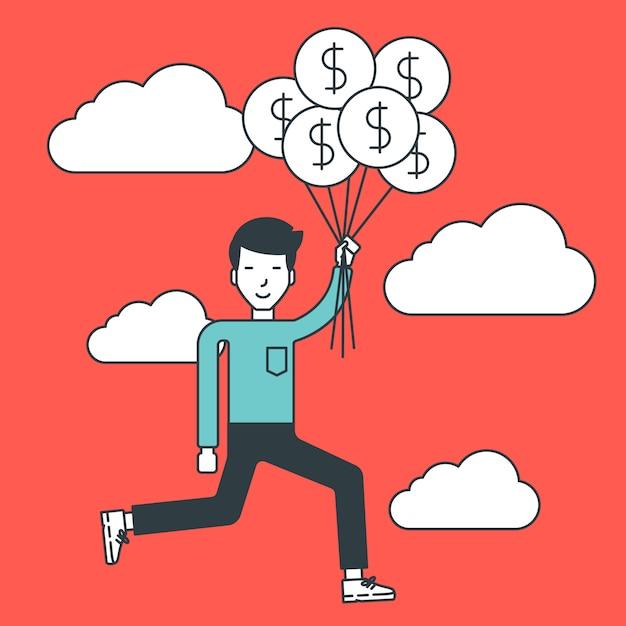 Бизнесмен летать с воздушными шарами. Premium векторы