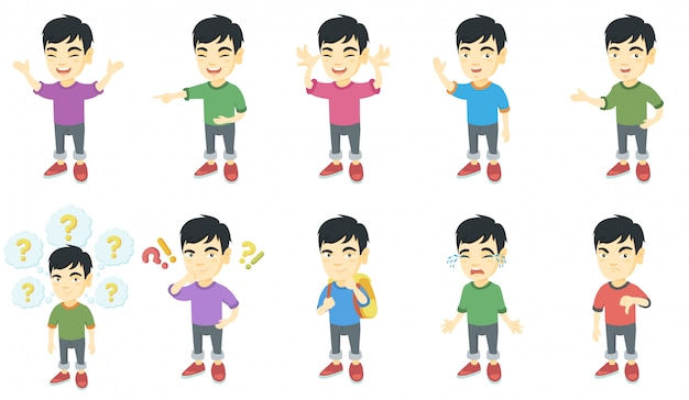 小さなアジアの少年キャラクターセット Premiumベクター