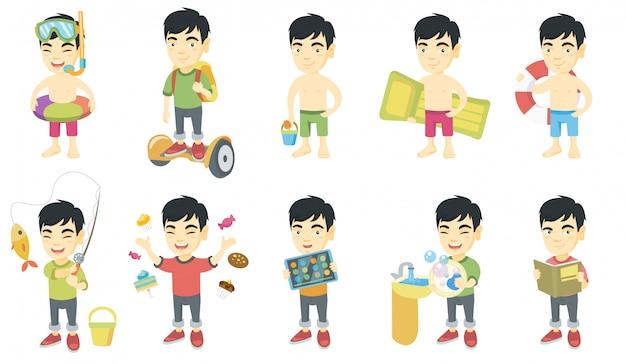 Маленький азиатский набор символов мальчика Premium векторы