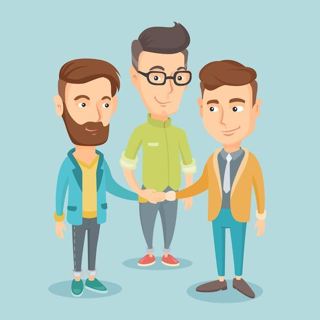 手に参加するビジネスの男性のグループ。 Premiumベクター