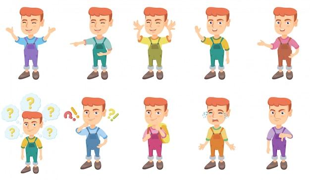 Маленький кавказский мальчик набор символов Premium векторы