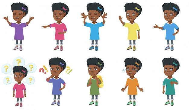 Маленькая африканская девушка набор символов Premium векторы