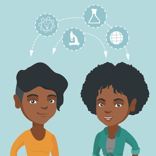 アイデアを共有する若いアフリカの学生。 Premiumベクター