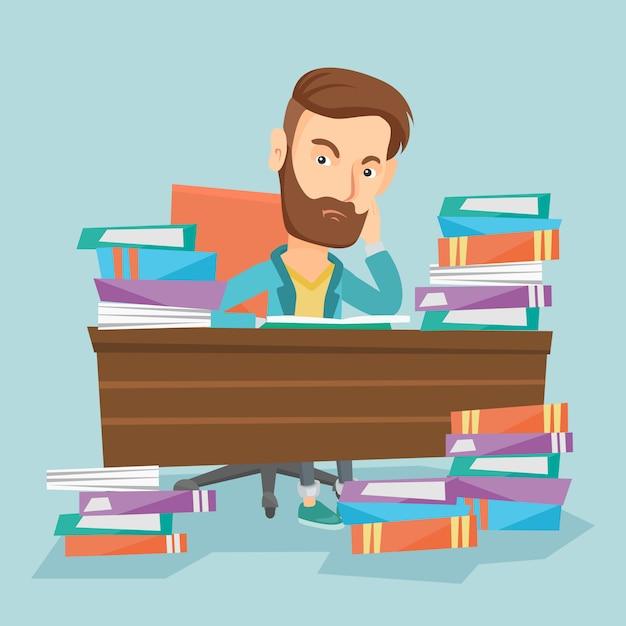 本の山でテーブルに座っている学生。 Premiumベクター