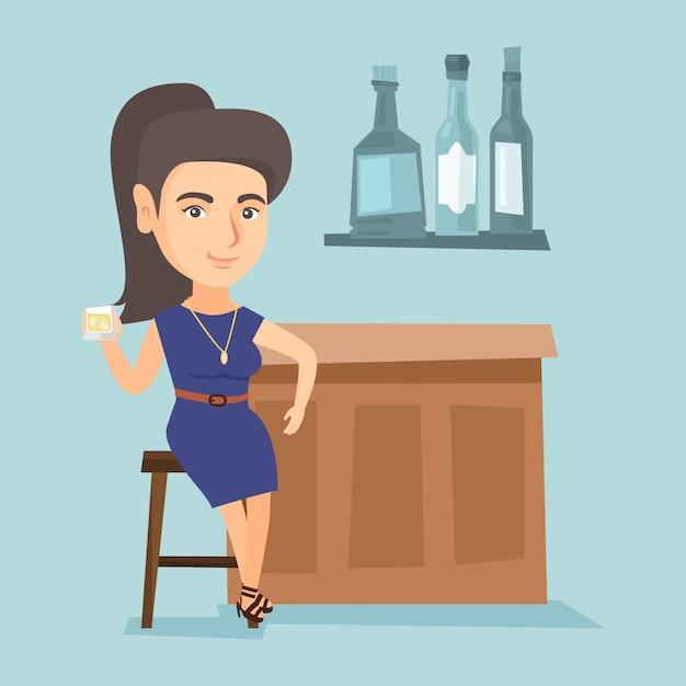 バーに座っている若い白人女性のカウンター。 Premiumベクター