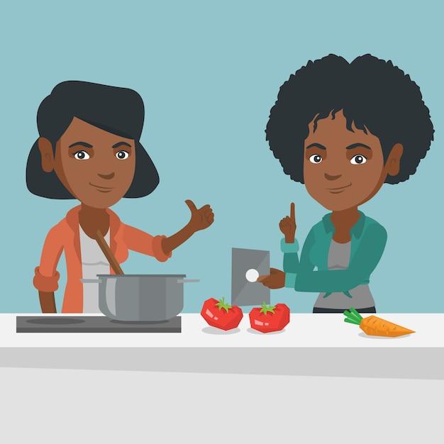 デジタルタブレットでレシピを探している女性。 Premiumベクター