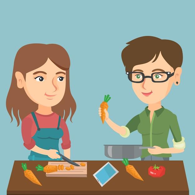 白人女性の健康的な野菜の食事を調理します。 Premiumベクター
