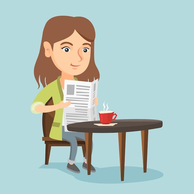 Женщина читает газету и пить кофе. Premium векторы