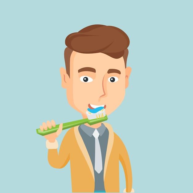 彼の歯のベクトル図を磨く男。 Premiumベクター