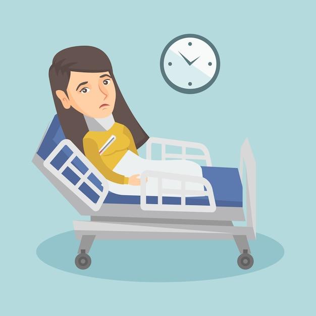 首の怪我で若い白人の悲しい女性。 Premiumベクター