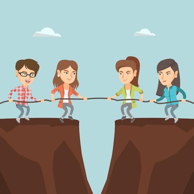 Две группы деловых людей тянут веревку. Premium векторы