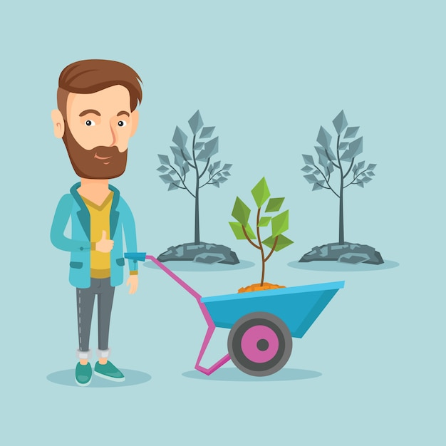 植物と手押し車を押す男。 Premiumベクター