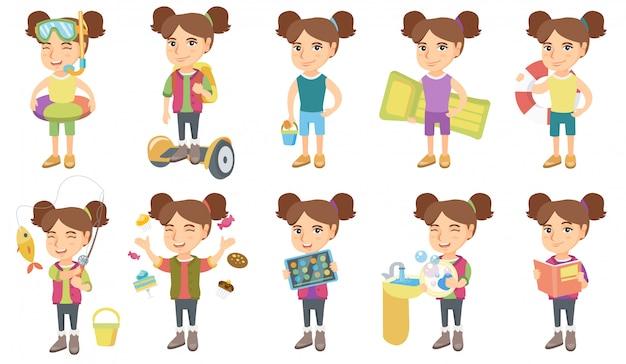 Маленькая кавказская девушка набор символов Premium векторы