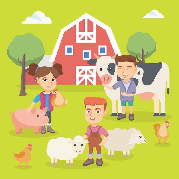 農場の動物と遊ぶ白人の子供たち。 Premiumベクター