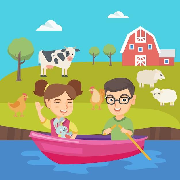 幸せな白人の男の子と女の子がボートで旅行します。 Premiumベクター