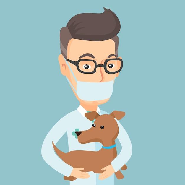手のベクトル図で犬と獣医 Premiumベクター