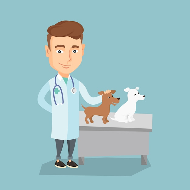 獣医試験犬ベクトルイラスト。 Premiumベクター