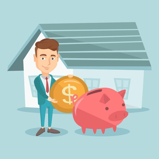 家を買うために貯金箱でお金を節約する男。 Premiumベクター