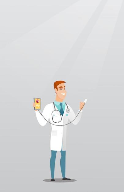 Доктор показывает приложение для измерения пульса сердца. Premium векторы