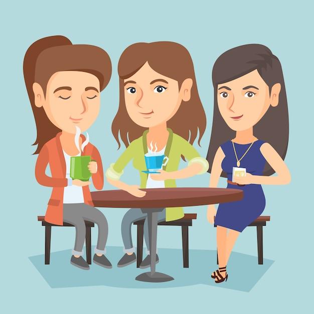 ホットおよびアルコール飲料を飲む女性のグループ。 Premiumベクター