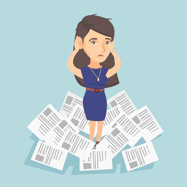 仕事がたくさんあるビジネスの女性を強調しました。 Premiumベクター