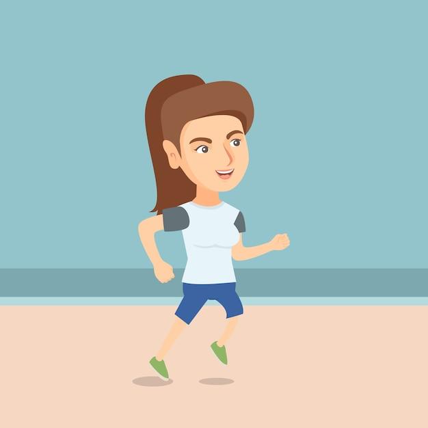 ビーチでジョギング若いスポーティな女性。 Premiumベクター