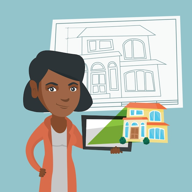 家の写真とデジタルタブレットを示す女性。 Premiumベクター