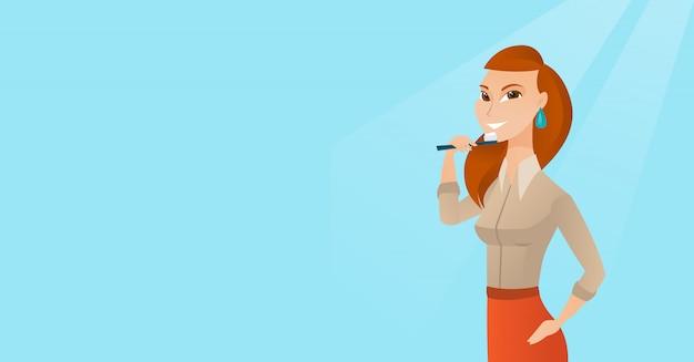 彼女の歯を磨く女性はベクトルイラストです。 Premiumベクター