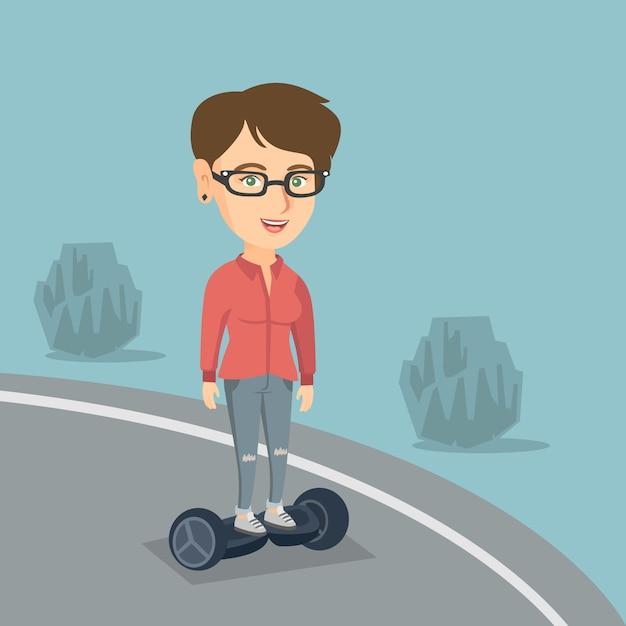 自己バランス電動スクーターに乗っている女性。 Premiumベクター