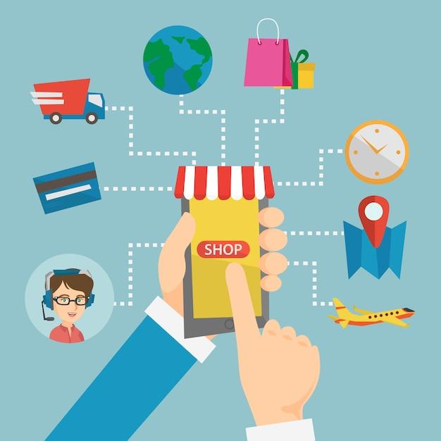 携帯電話を保持している手は、ショッピングの要素に接続されています。 Premiumベクター