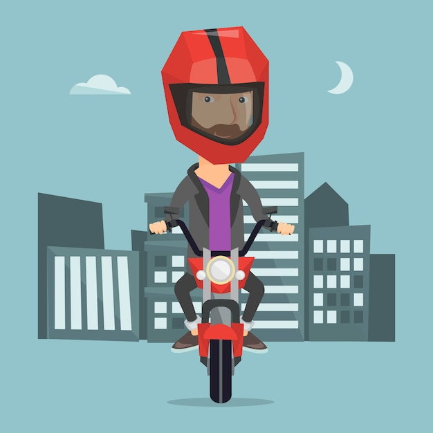 夜のベクトル図でバイクに乗る男 Premiumベクター