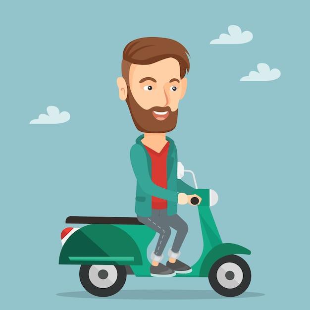 Человек езда скутер векторные иллюстрации. Premium векторы