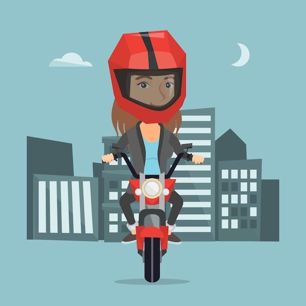 Кавказская женщина верхом на мотоцикле ночью. Premium векторы