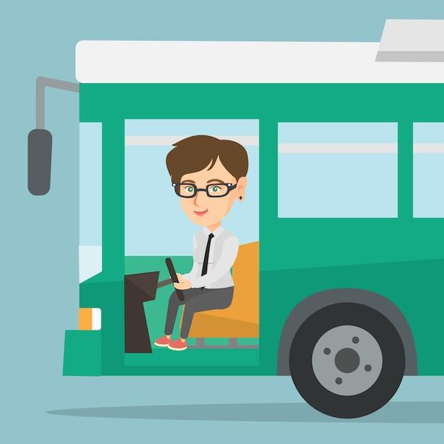 ステアリングホイールに座っている白人のバスの運転手。 Premiumベクター