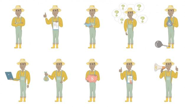 アフリカ系アメリカ人の農家のキャラクターセット Premiumベクター