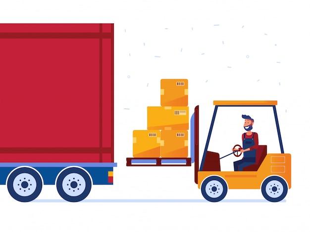 倉庫作業員は近代的なフォークリフトでトラックを読み込んでいます Premiumベクター