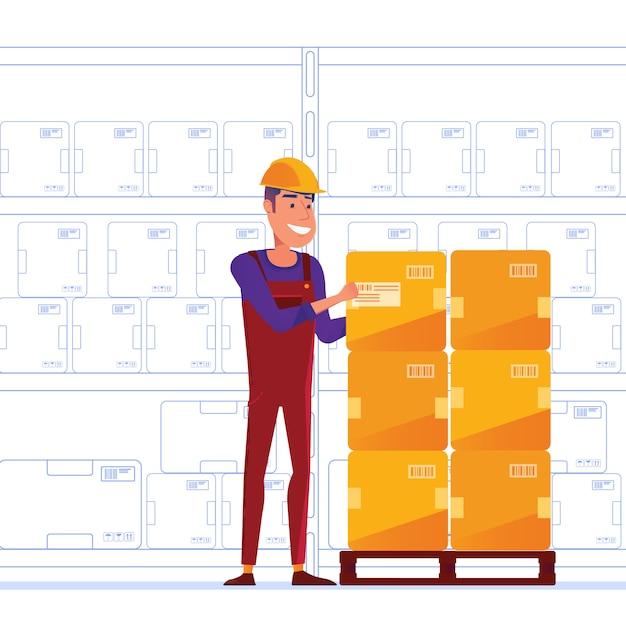 倉庫作業員はパレットに箱を保管しています Premiumベクター