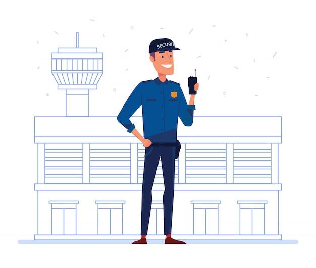 Сотрудник охранной компании с рацией перед зданием аэропорта. Premium векторы