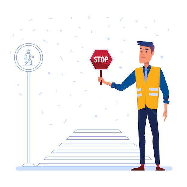 横断歩道の前に一時停止の標識を持つ交通警備員。 Premiumベクター