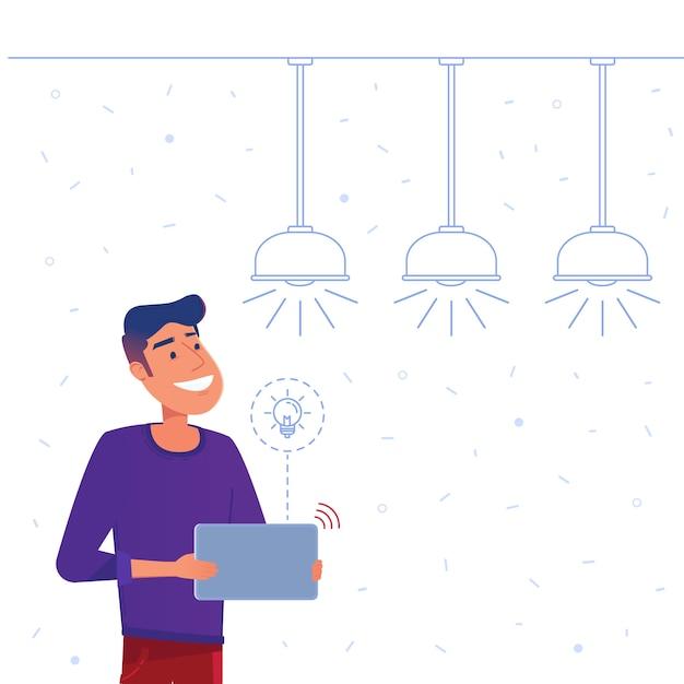 スマートホームエネルギー管理システムのコンセプト。 Premiumベクター
