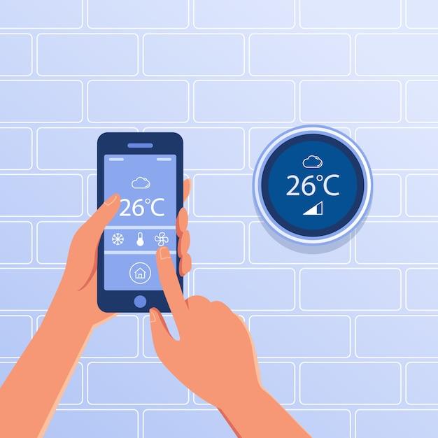 Умный термостат как концепция умного дома. Premium векторы