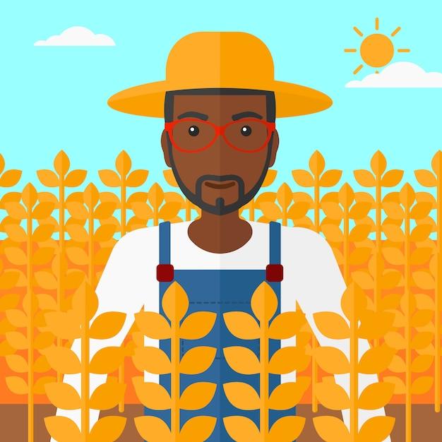 麦畑の男。 Premiumベクター