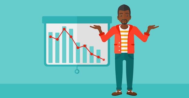 減少グラフを持つ男。 Premiumベクター