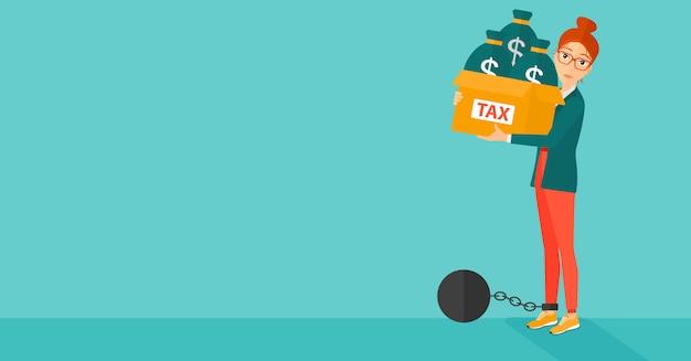 税金でいっぱいのバッグを持つ連鎖女性。 Premiumベクター