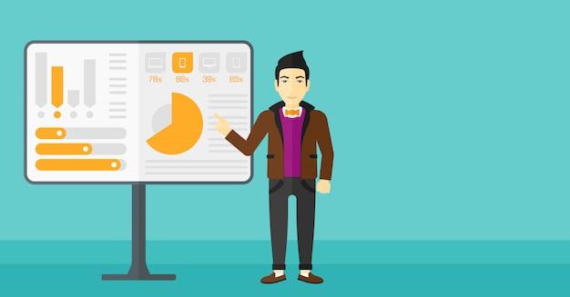Человек, представляя доклад. Premium векторы
