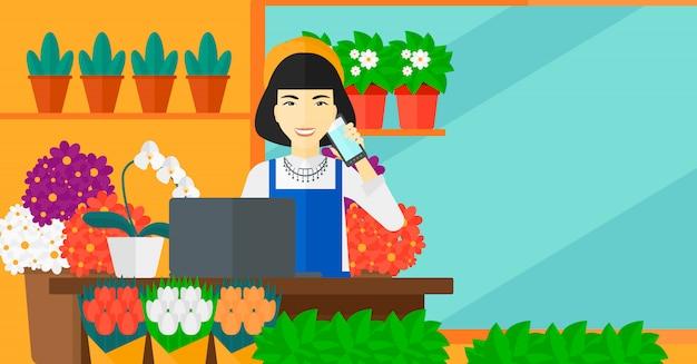注文する花屋。 Premiumベクター