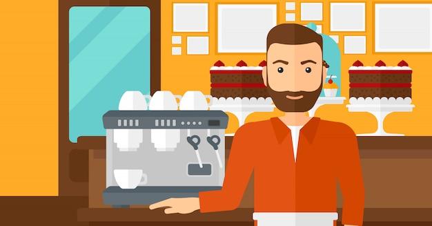 コーヒーメーカーの近くに立っているバリスタ。 Premiumベクター