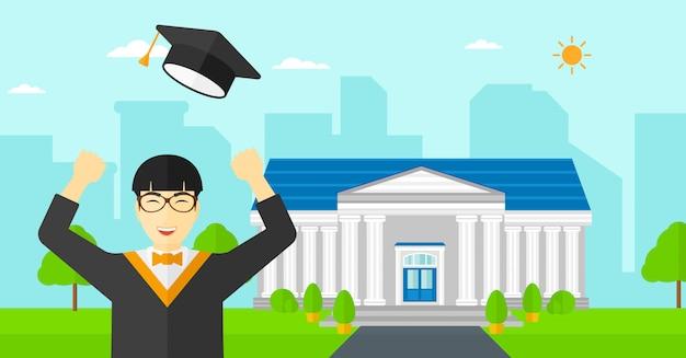 彼の帽子を投げる卒業生 Premiumベクター